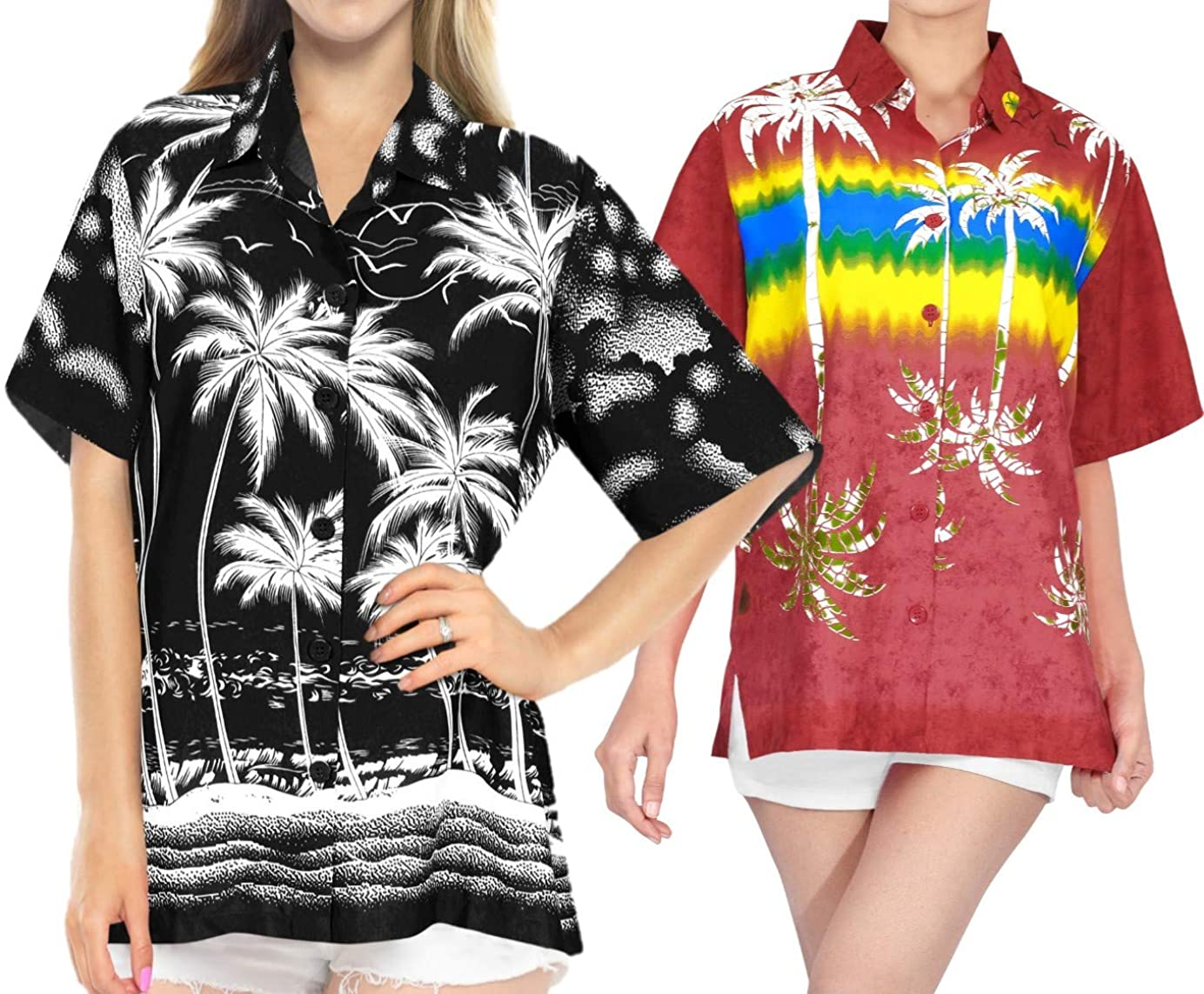 LA LEELA Women's Plus Size Golf Hawaiian Shirt Beach Camp Aloha Shirt Work from Home Clothes Women Beach Shirt Blouse Shirt Combo Pack of 2 Size XL