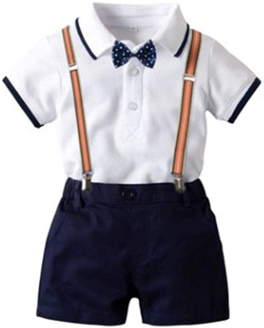 KisBaBies Baby Boy Gentleman 2Pcs Outfit Bow-Tie Shirt Romper Bodysuit Suspender Short Pants 0-24M