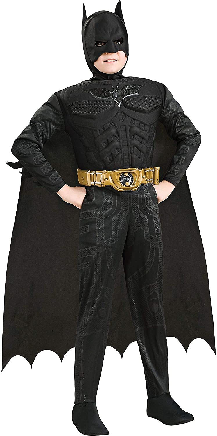 Rubie's Costume Co The Dark Knight Batman Muscle Deluxe Costume for Boys, Includes a Jumpsuit and More
