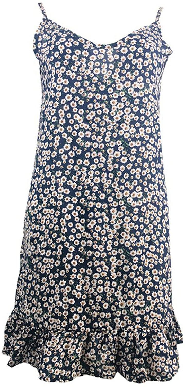 Soluo Women's Soft Printed Strap Nightgown One-Piece leeveless Sleep Dress Cotton Lightweight Comfortable Nightshirt