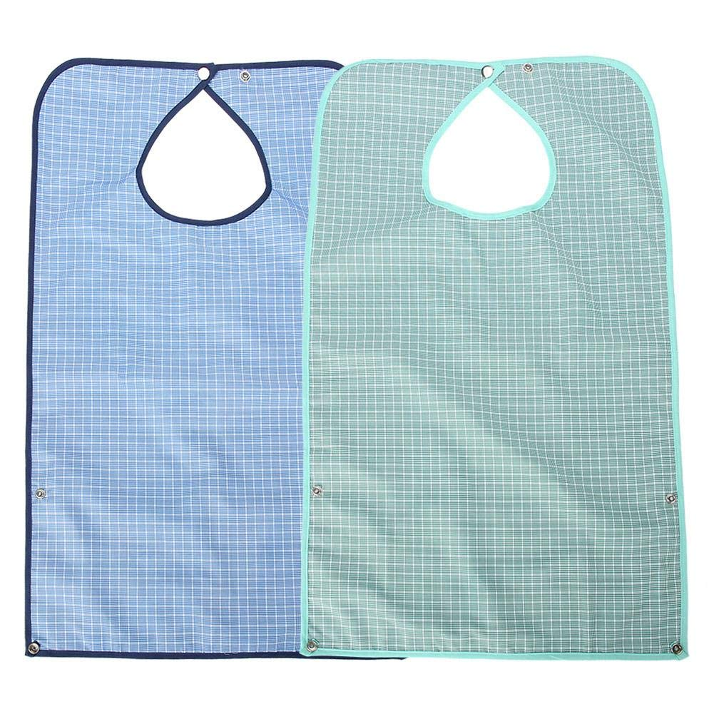 Adult bib, double layer senior dining clothes protector with waterproof raincoat for meals waterproof raincoat for adults washable