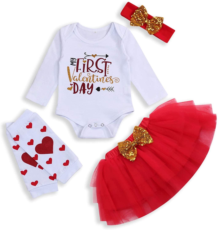 ZOELNIC Baby Girls My First Valentine Skirt Set Toddler Romper + Golden Dots Tutu Skirt + Headband 4PCS Outfits