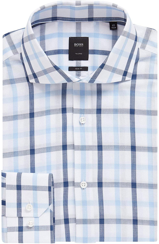 Hugo Boss Men's 'T-Christo' Light Blue Slim Fit Plaid Cotton Dress Shirt 15, 33/34