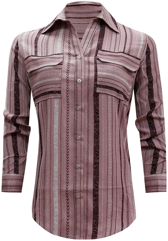 ARISCO Women's Long Sleeve Chest Pockets Vertical Stripes Button Down Blouse Shirt Top
