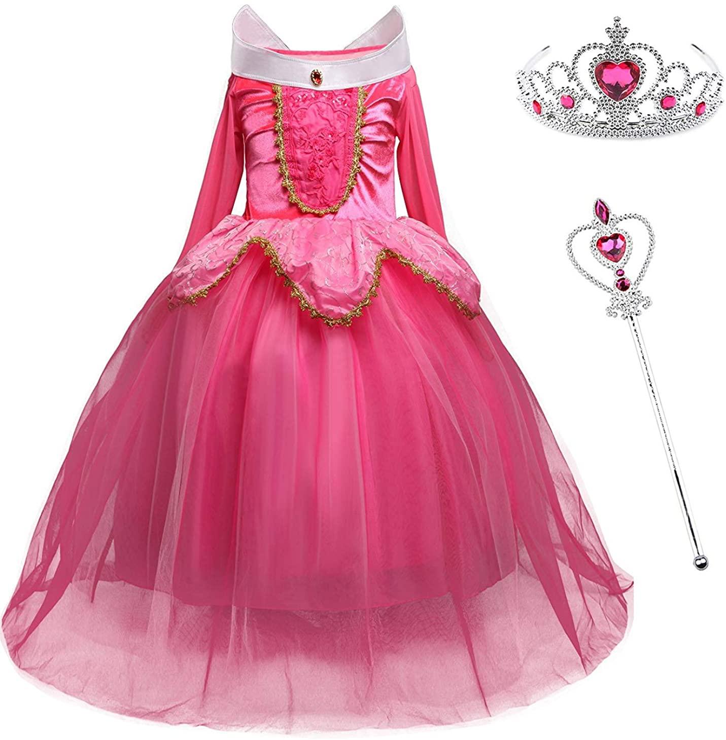 MYZLS Girls Princess Costume Sleeping Beauty Girls Fancy Party Dress Halloween Dress Up Outfit
