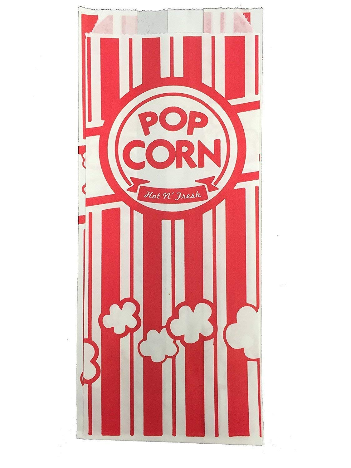 Carnival King Paper Popcorn Bags, 1 oz, Red & White, 100 Pieces
