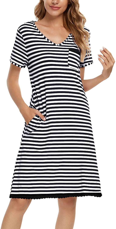N-A Women's V Neck Short Sleeve Nightgowns Stripe Print Pocket Sleepwear Night Shirt