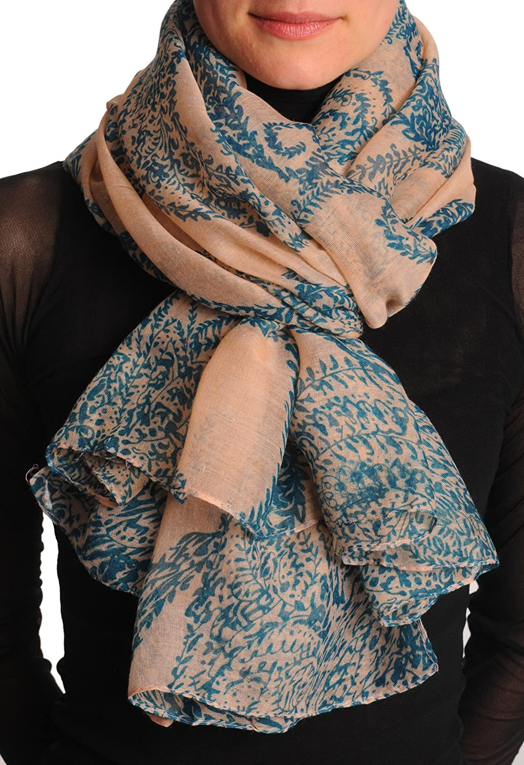 Persian Green Fern Leaves On Light Pink Unisex Scarf & Beach Sarong - Scarf
