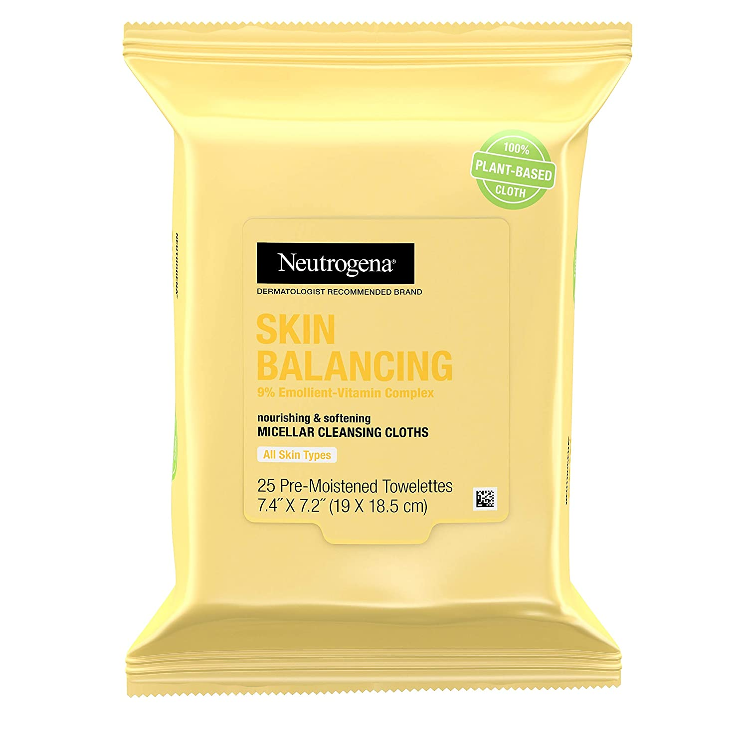 Neutrogena Skin Balancing Micellar Cleansing Cloths Makeup Remover Wipes, Plant-Based Nourishing Wipes with Vitamin & Pro-Vitamin B5, Paraben-Free, Hypoallergenic, 25 count
