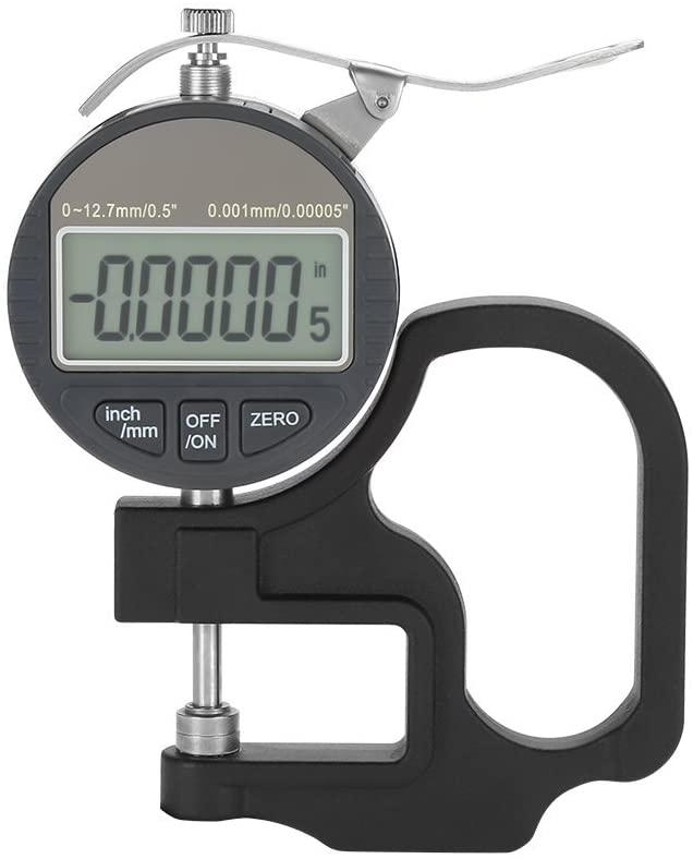 Luckya Digital Thickness Gauge Paper Thickness Gauge, Digital Display Paper Leather Cloth Thickness Gauge Measuring Tool Range 0-12.7mm 0.001mm Measuring Tool Thickness Gauge