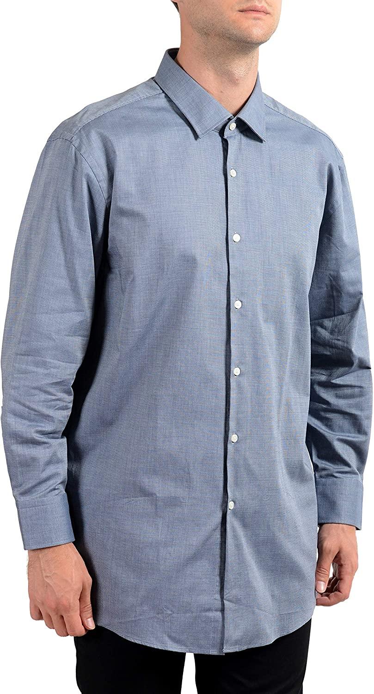 Hugo Boss Men's Marley US Gray Sharp Fit Long Sleeve Dress Shirt US 18 IT 46