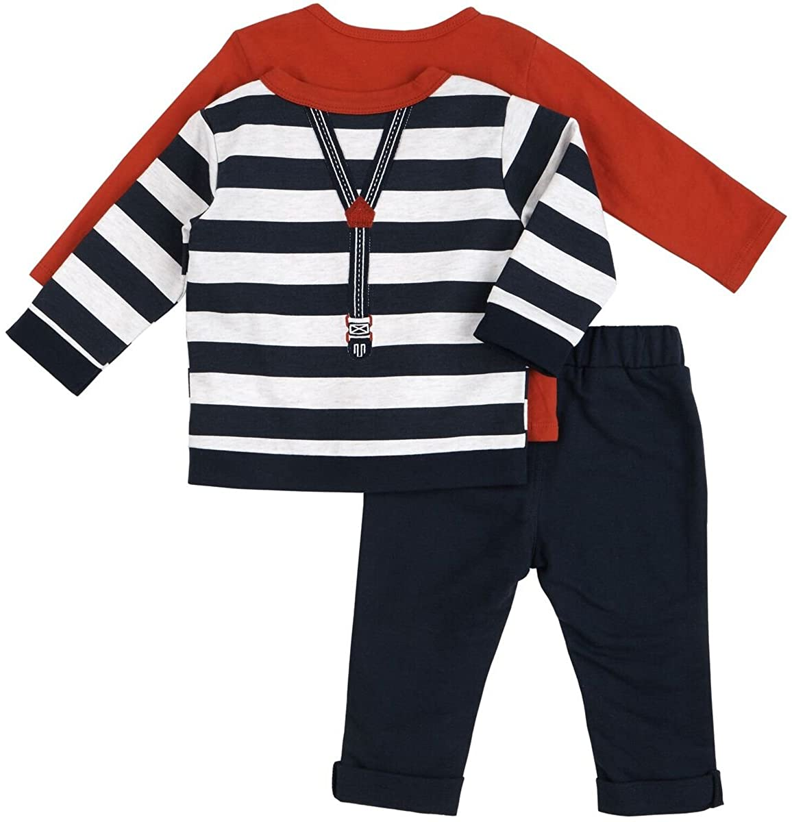 Petit Lem Baby Boys Holiday 3pc Set-Penguin Top and Pant with Stripe Cardigan and Faux Suspenders.