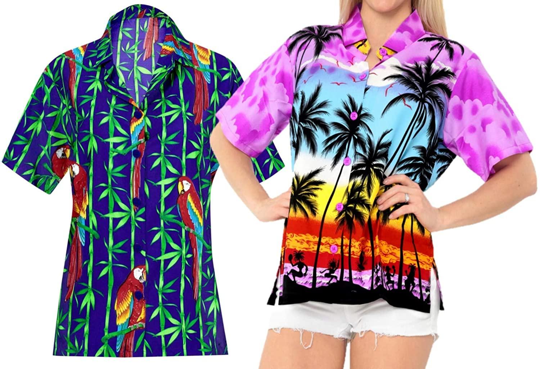 LA LEELA Women's Club Hawaiian Shirt Button Down Work Casual Shirt Work from Home Clothes Women Beach Shirt Blouse Shirt Combo Pack of 2 Size M