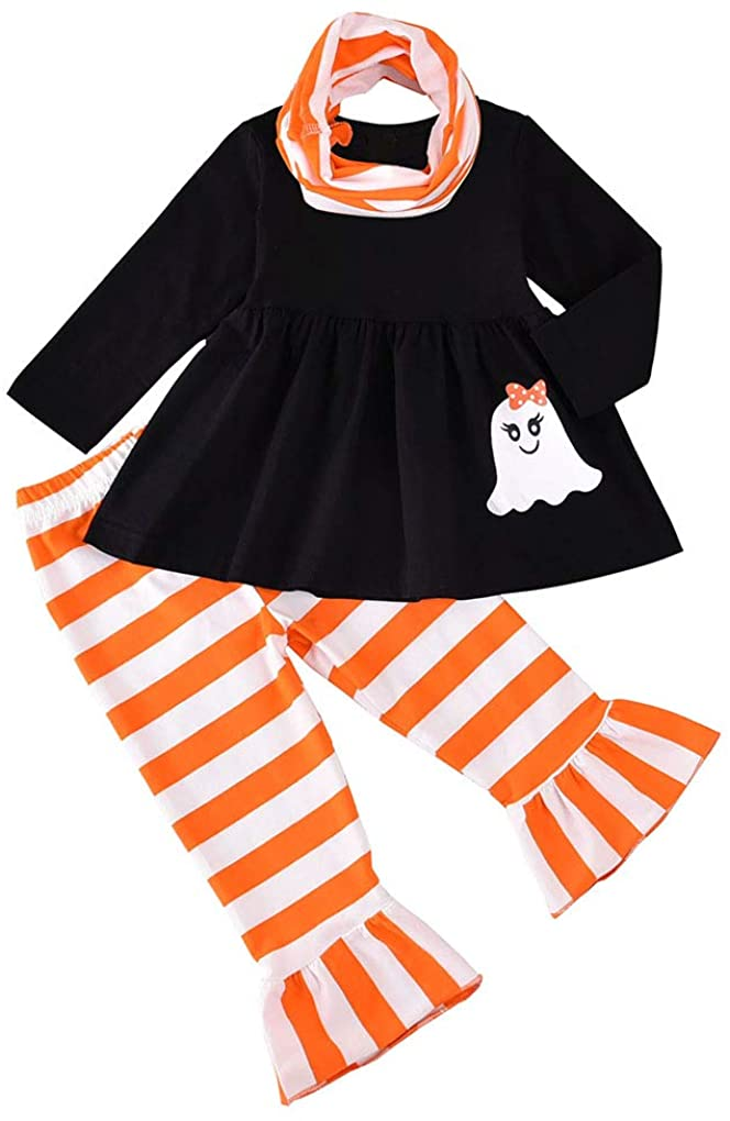 Toddler Baby Girl Halloween Outfit 3PCS Ghost Tunic Dress + Orange Stripe Ruffle Pants + Infinity Scarf Clothes Set