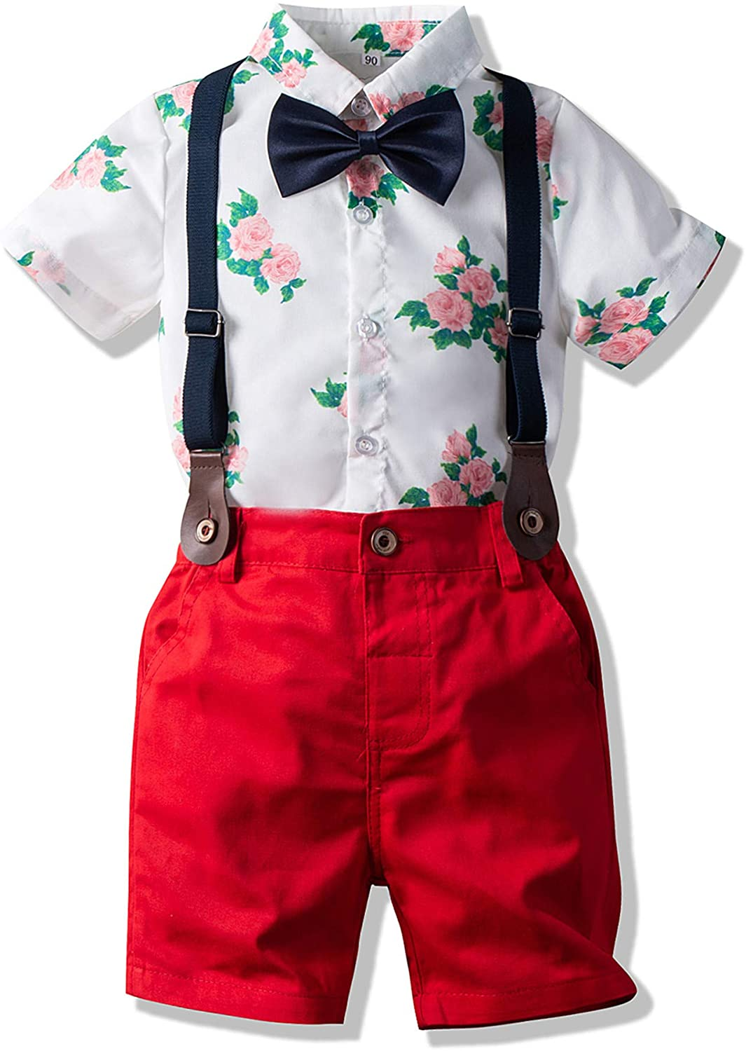 Gentlemen Outfits Baby Hawaiian Aloha Shirt and Suspender Pant for Toddler Clothes Set