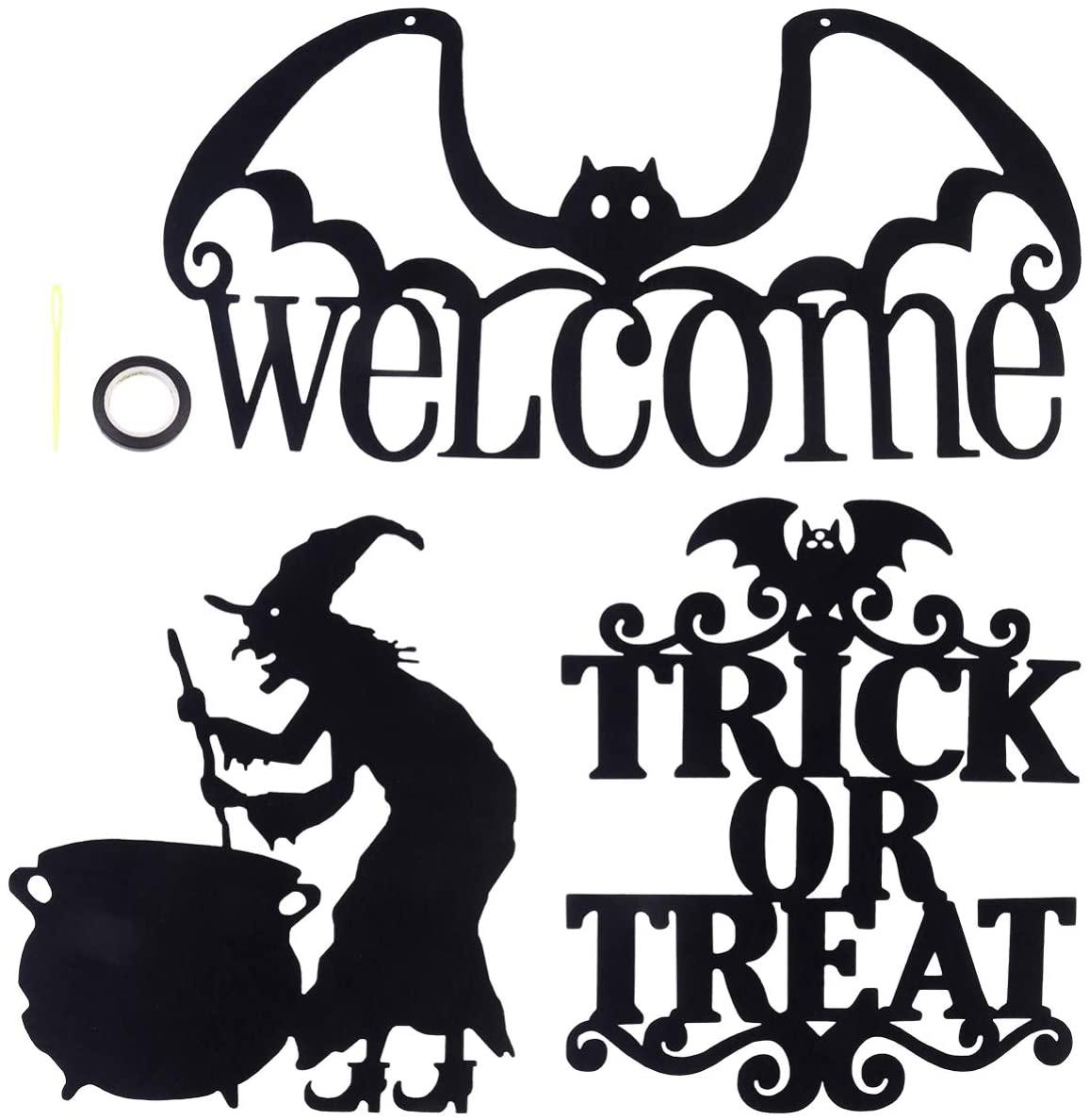 GARNECK 3pcs Halloween Hanging Sign Trick Or Treat Welcome Door Sign Wall Tag for Halloween Home Door Decor (Black)
