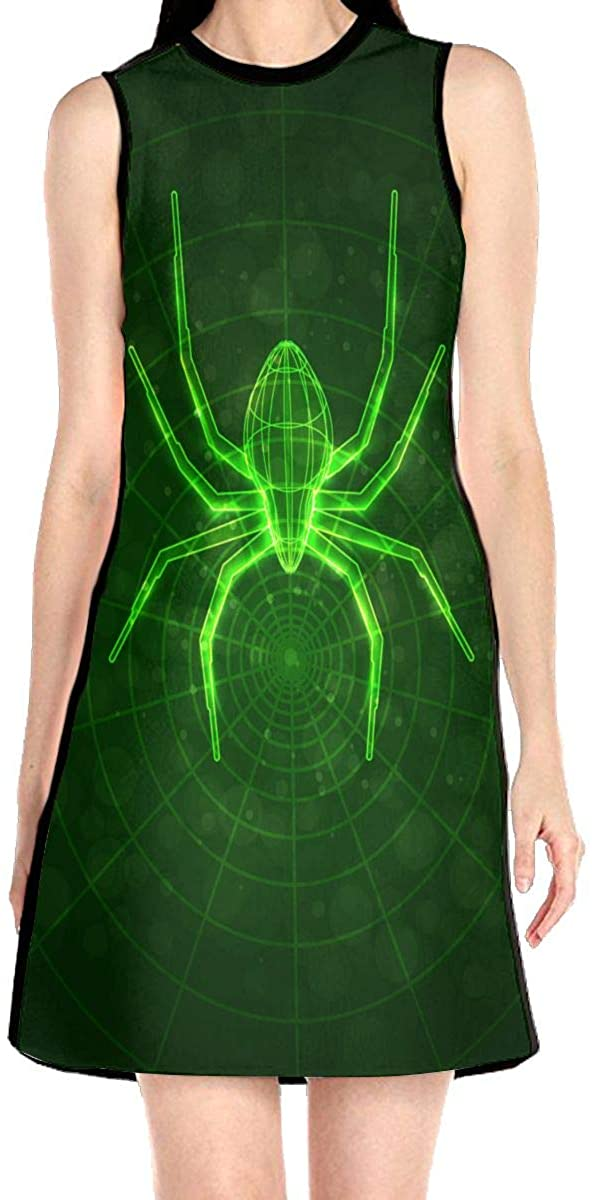 Spider Web Glow in The Dark Women's Sleeveless Dress Casual Slim A-Line Dress Tank Dresses