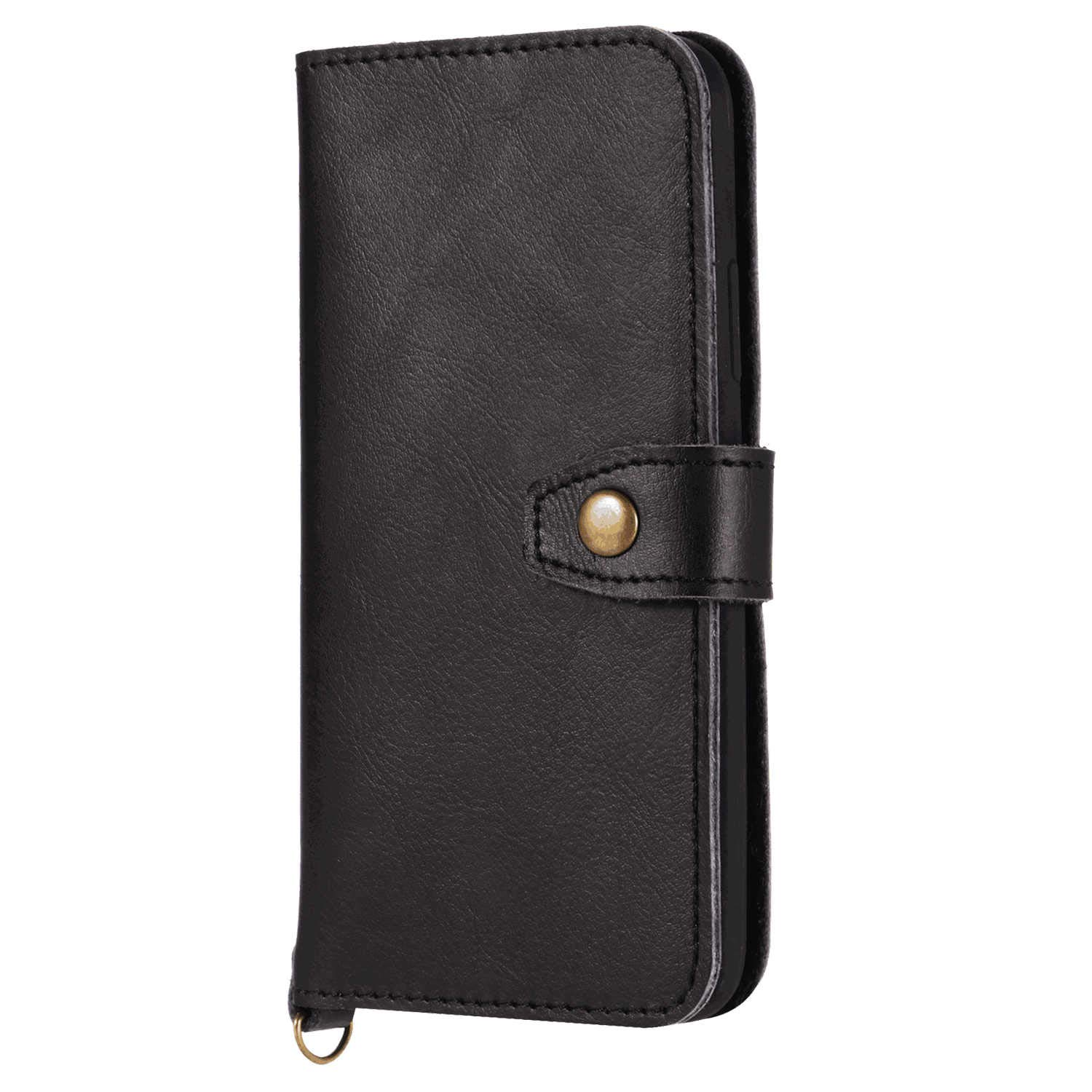 Leather Flip Case Fit for iPhone XR, Black Wallet Cover for iPhone XR