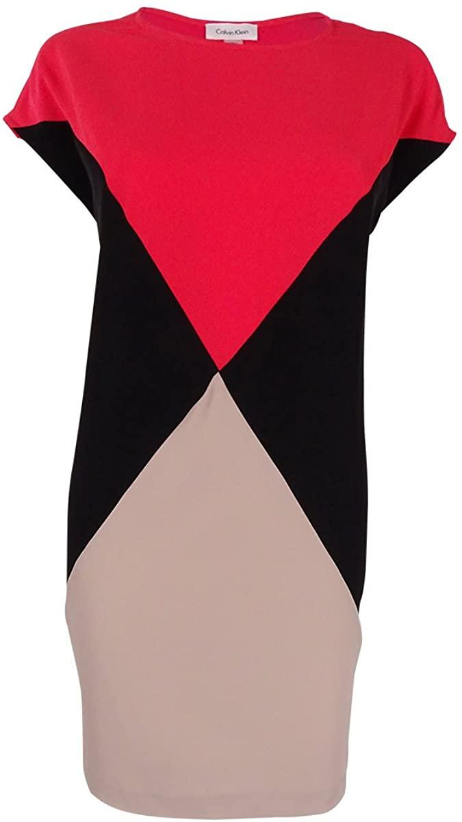 Calvin Klein Womens Plus-Size Color-Block Cap-Sleeve Dress