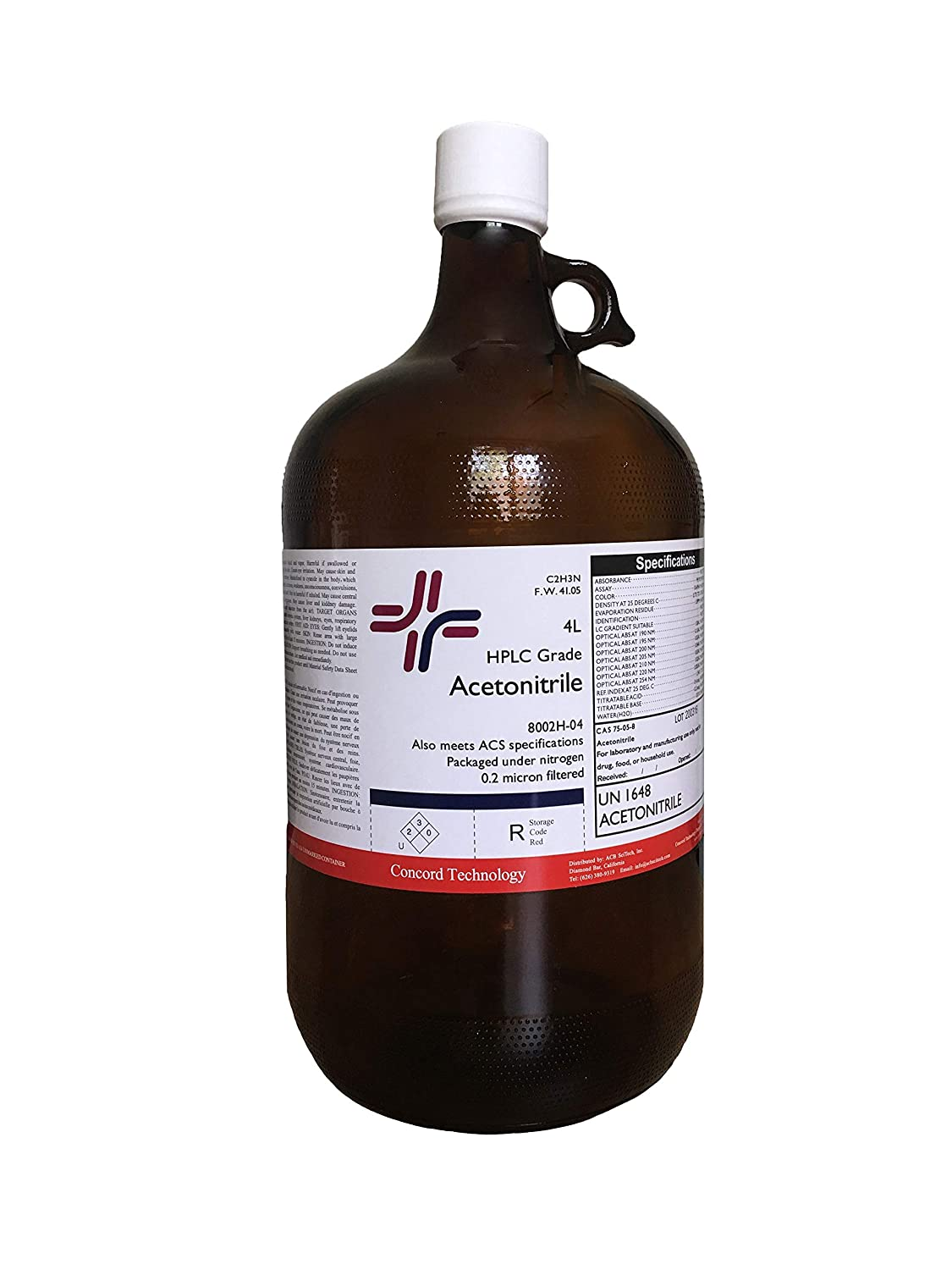 Acetonitrile, HPLC, ACS, 99.9% Min, 4-Liter, Case of 4