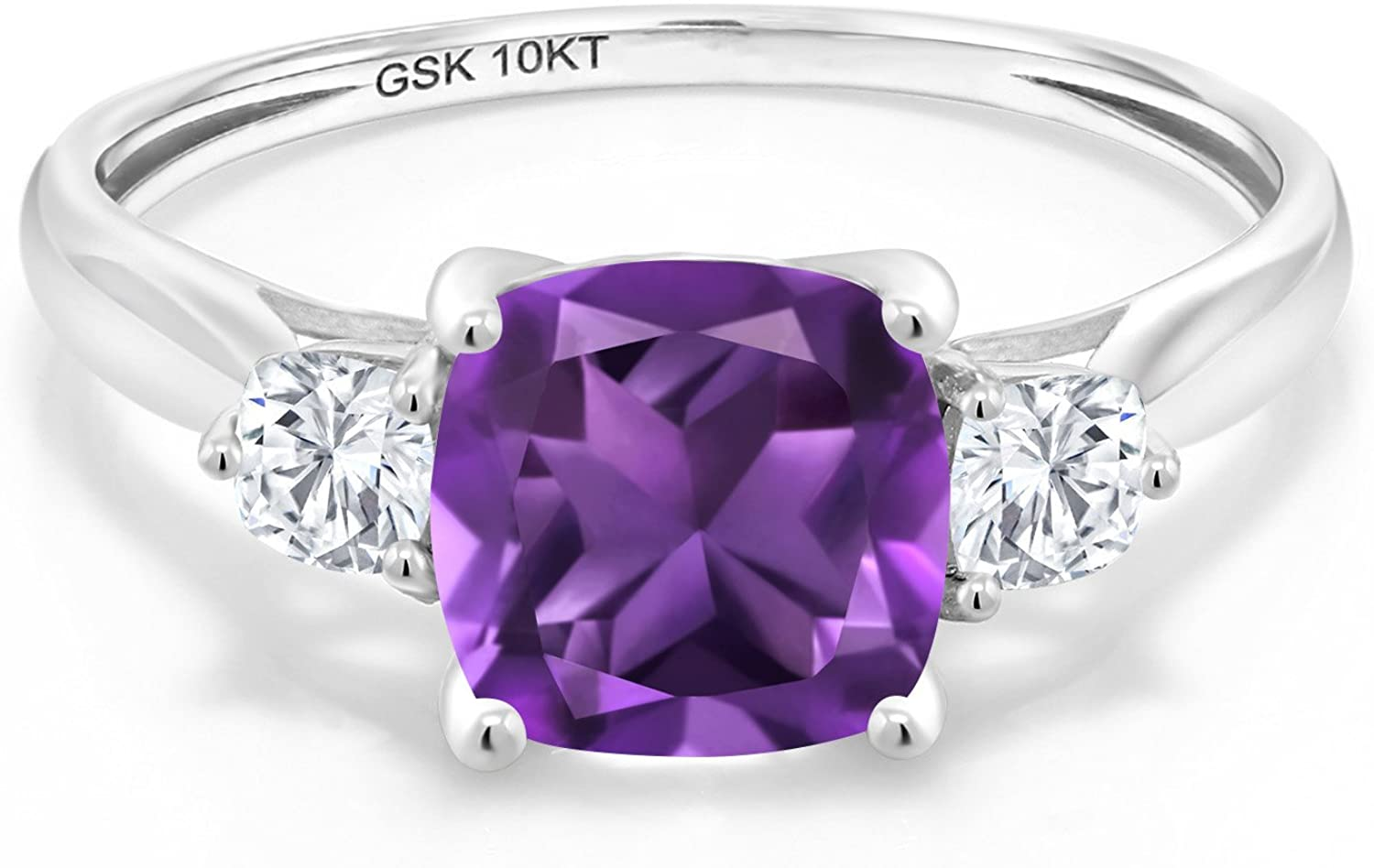 Gem Stone King 10K White Gold Purple Amethyst and Timeless Brilliant Created Moissanite 3-Stone Women Engagement Ring (1.66 Cttw, Available 5,6,7,8,9)