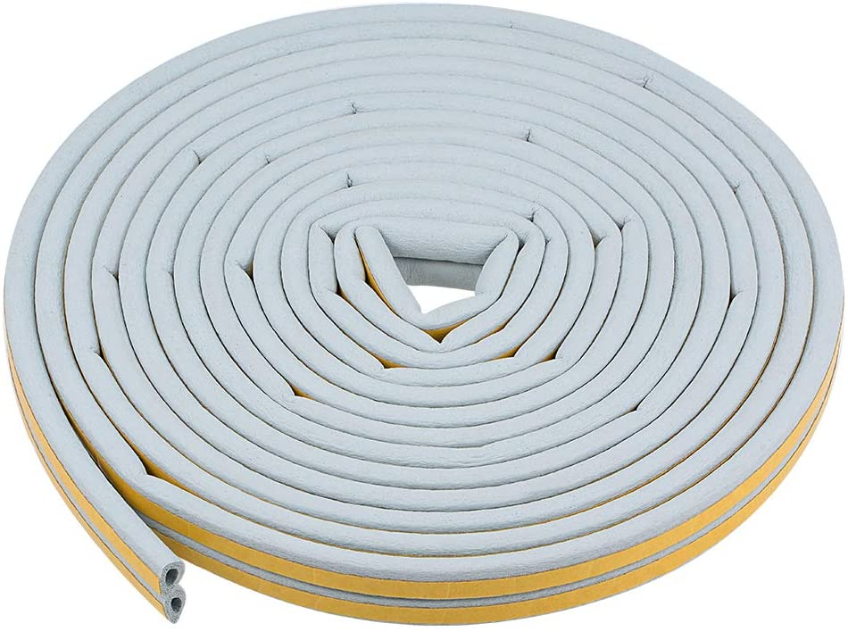uxcell Foam Tape Self-Adhesive Seal Strip 9mm Width 6mm Thick, Total 32.8 Feet Long Gray 2Pcs