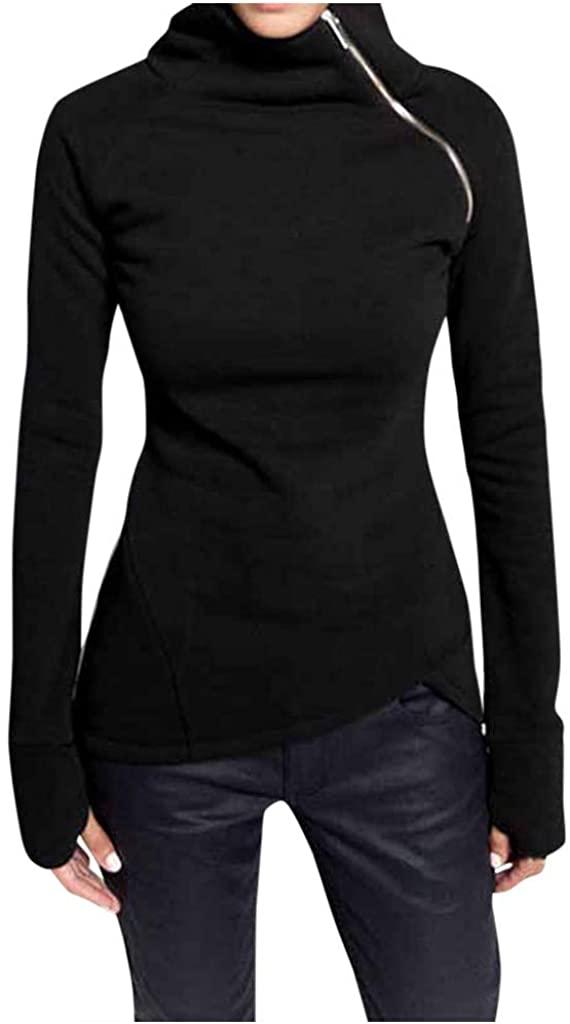 SNOWSONG Women Turtle Neck Oblique Zipper Sweatshirt Pullover Long Sleeve Sweater Outerwear