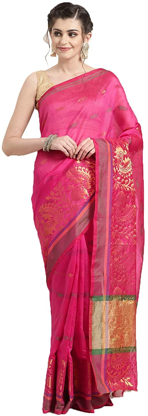 Indian Decor & Attire Chanderi Art Silk with Blouse Piece Saree (RVAG6869_ Pink_ OneSize)