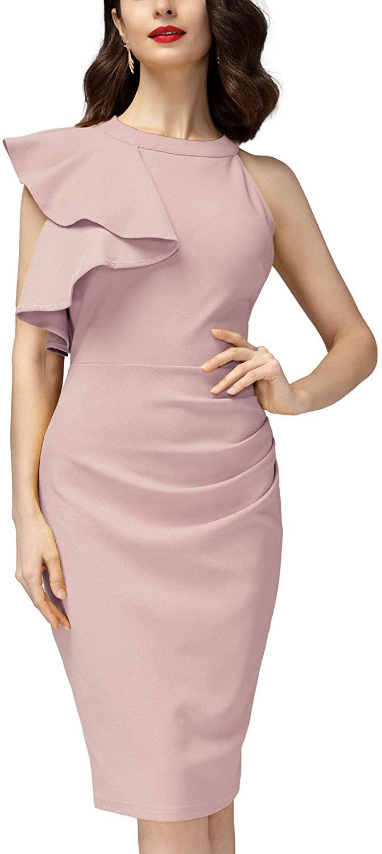 Miusol Women's Business Sleeveless Ruffle Cocktail Pencil Dress