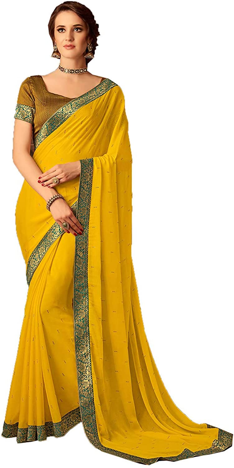Saree for Women Bollywood Wedding Designer Yellow Sari with Unstitched Blouse.