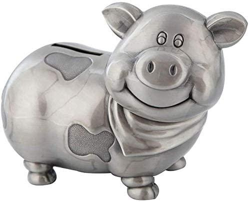 Piggy bank Guohailang Money Banks Zodiac Piggy Bank Home Decoration Ornaments Creative Cartoon Fat Pig Change Cans Metal Crafts Money Piggy Bank Makes a Perfect Unique Gift (Color , Silver, Size , 1..