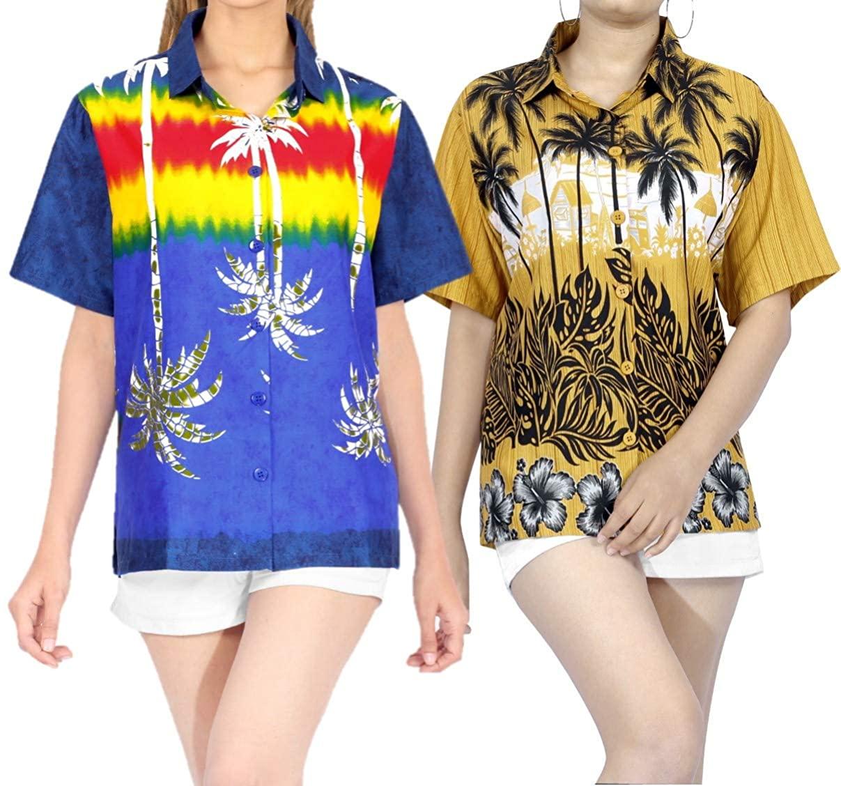 LA LEELA Women's Beach Hawaiian Shirt Blouse Tops Button Down Shirt Work from Home Clothes Women Beach Shirt Blouse Shirt Combo Pack of 2 Size XXL