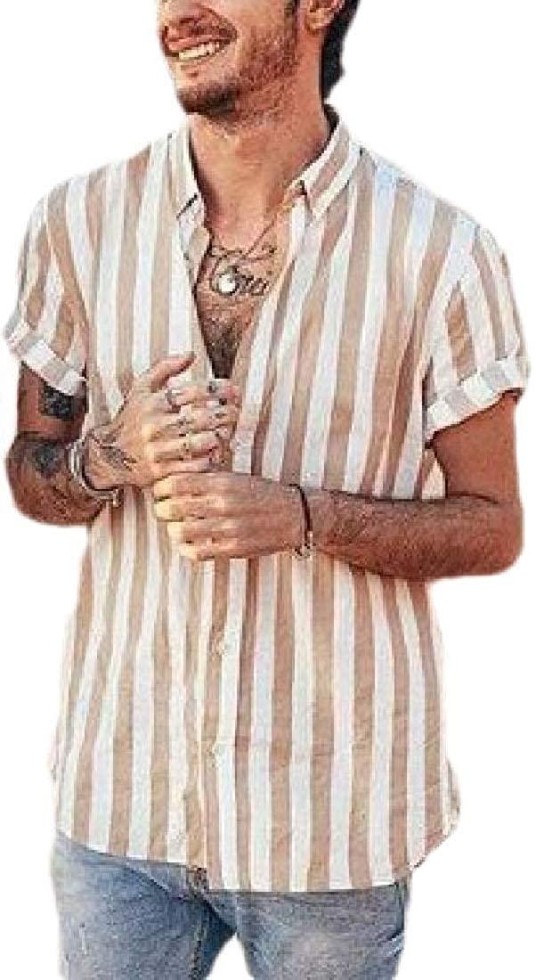 GAGA Men's Bold-Striped Work Cotton Regular-Fit Casual Dress Shirts