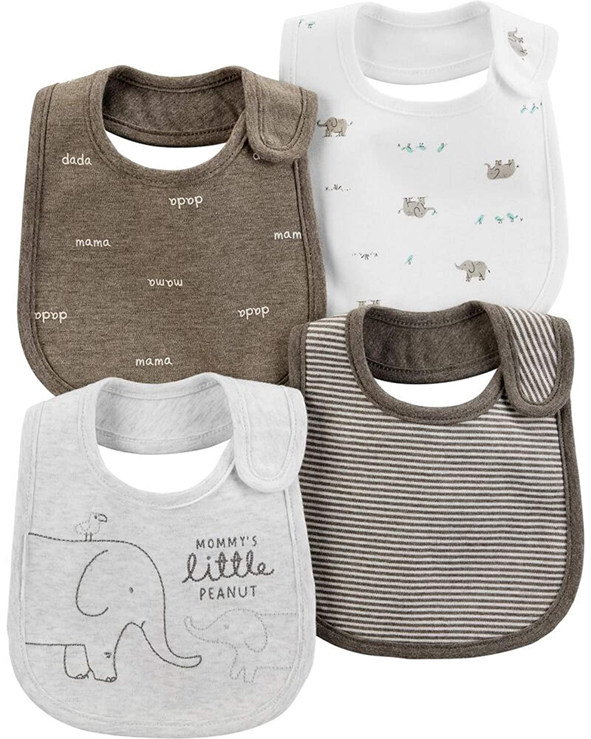 Carter's Baby Boys 4-Pack Teething Bibs with Water Barrier (Elephant)