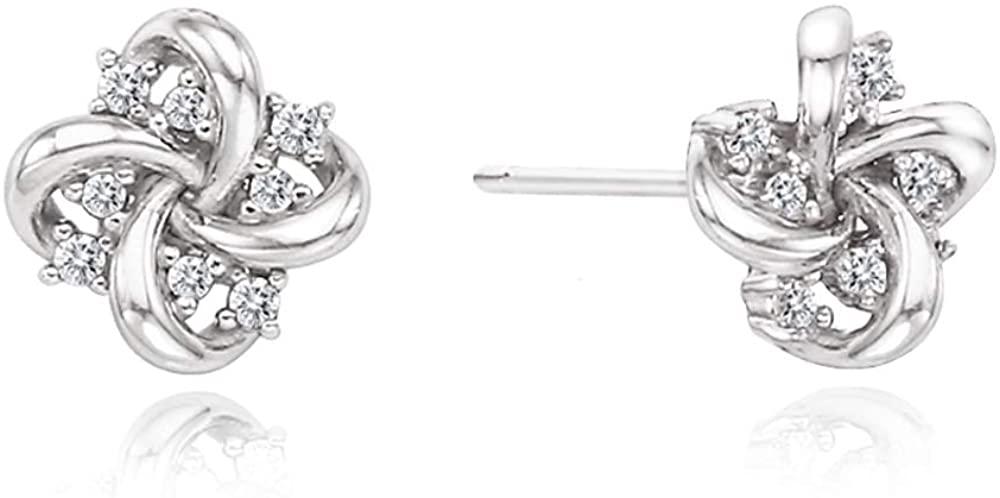 J.RAHEL 925 Sterling Silver Cubic Zirconia Flower Knot Jewelry for Women