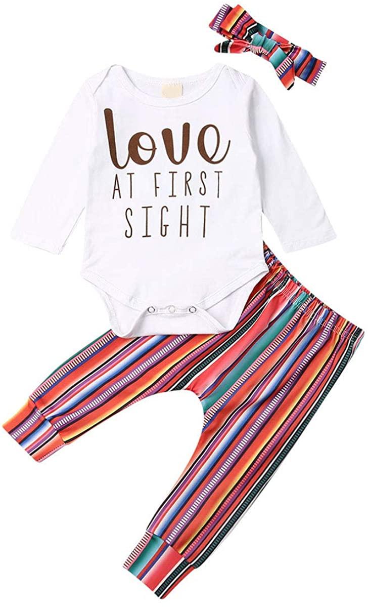 3PCS Newborn Infant Outfits Baby Boy Girl Letter Print Long Sleeve Romper Rainbow Striped Pants Set