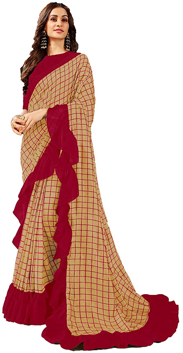Saree for Women Bollywood Wedding Designer Red Sari with Unstitched Blouse.