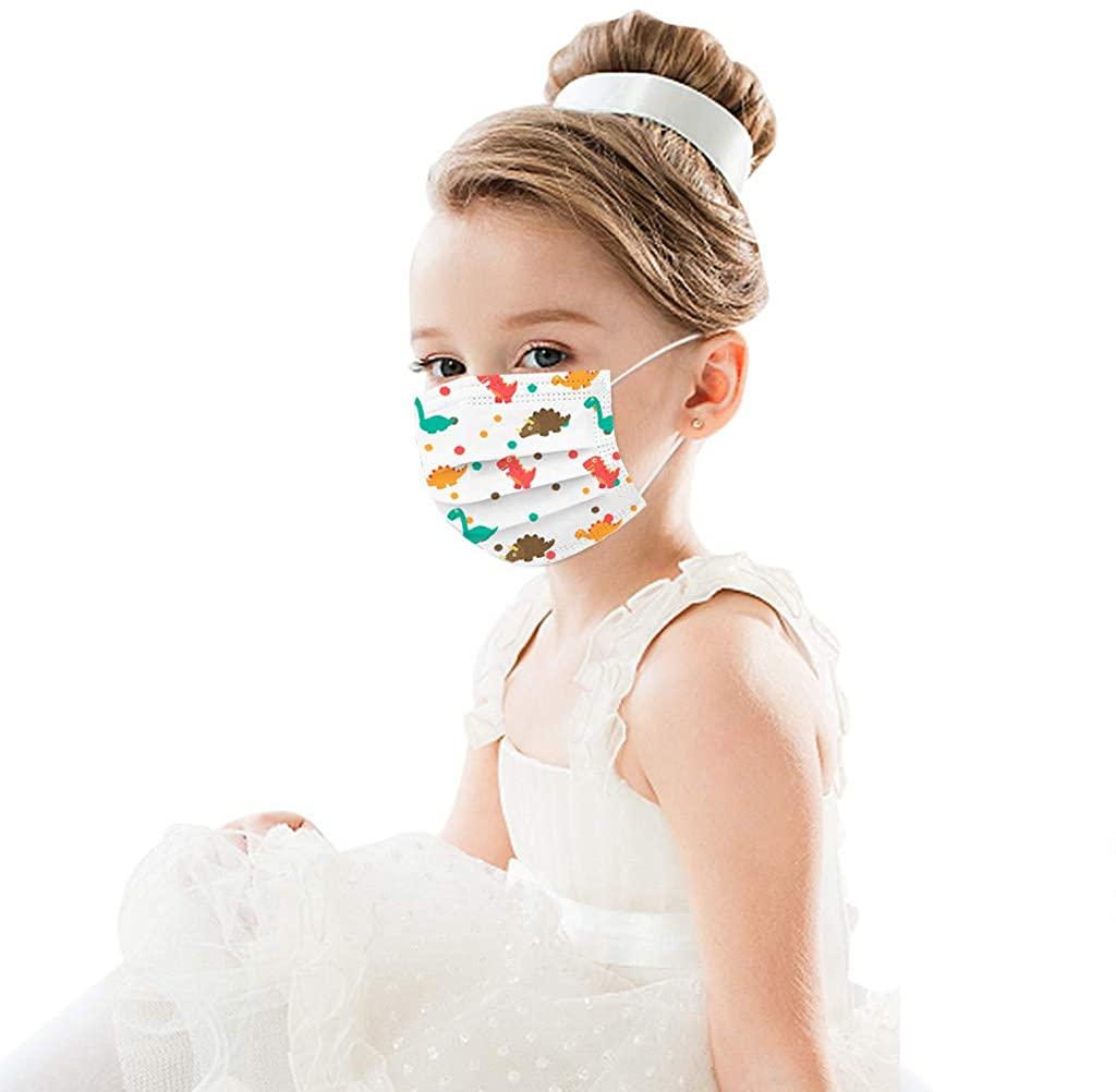Kstare Kids Disposable 3 Ply Non-Woven Face Bandanas Cute Cotton Pattern Breathable