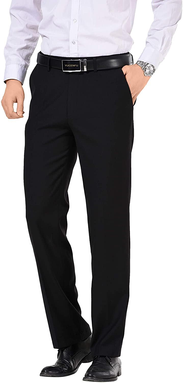 YUCENFU Men's Premium Stretch Texture Weave Classic Fit Dress Pant Black
