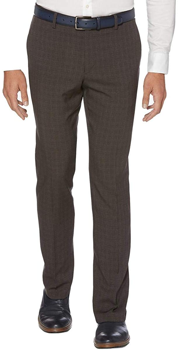 Perry Ellis Portfolio Mens Glen Plaid Slim Fit Dress Pants Gray 31/30