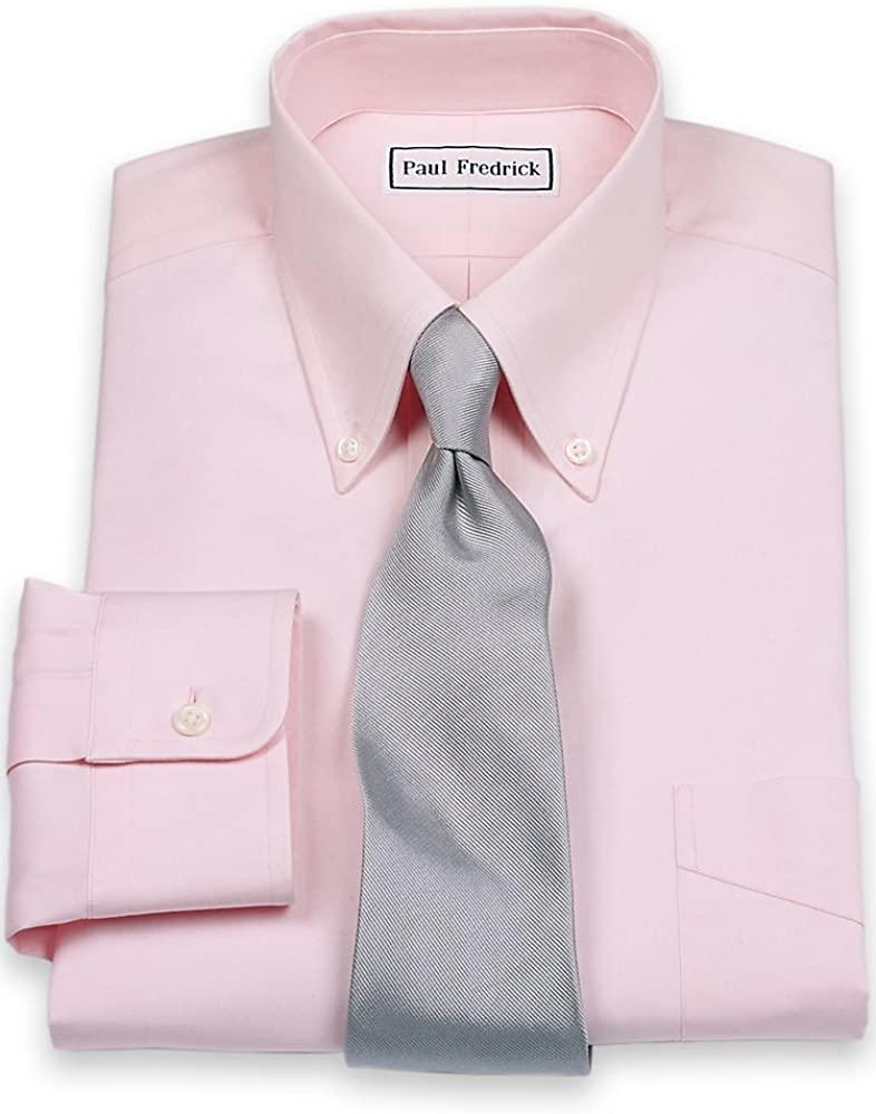Paul Fredrick Men's Pinpoint Button Down Collar Button Cuff Dress Shirt Pink 19.0/36 110