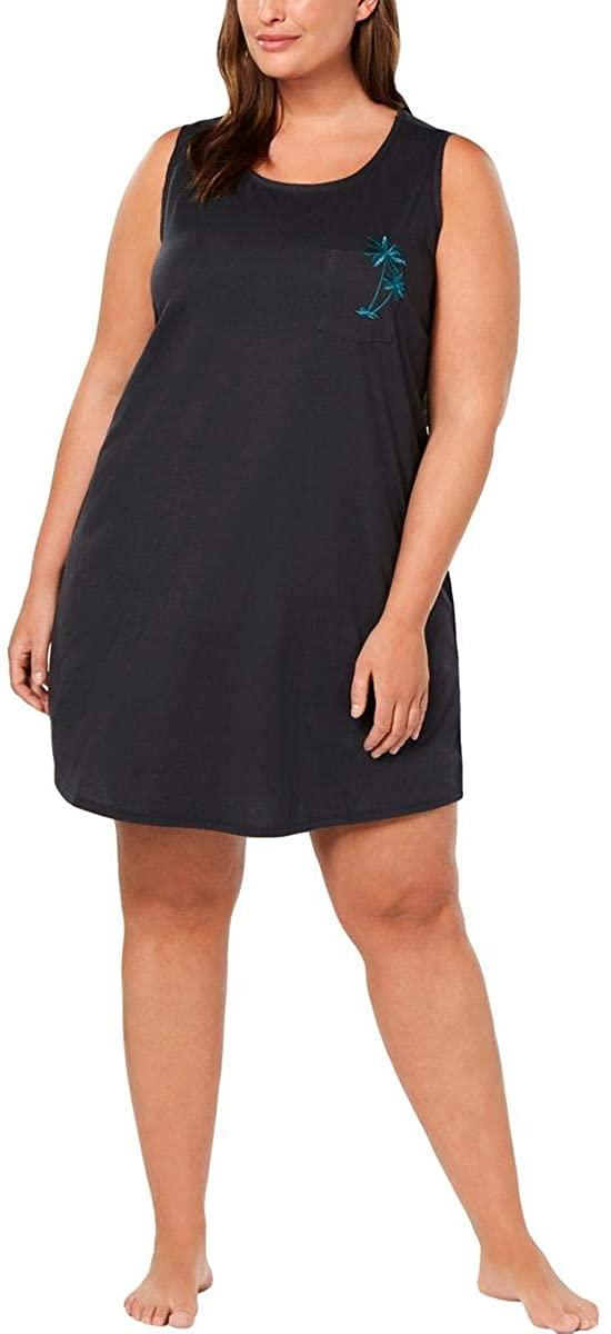 Jenni Womens Plus Palm Tree Comfy Sleepwear Sleep Shirt Gray 2X