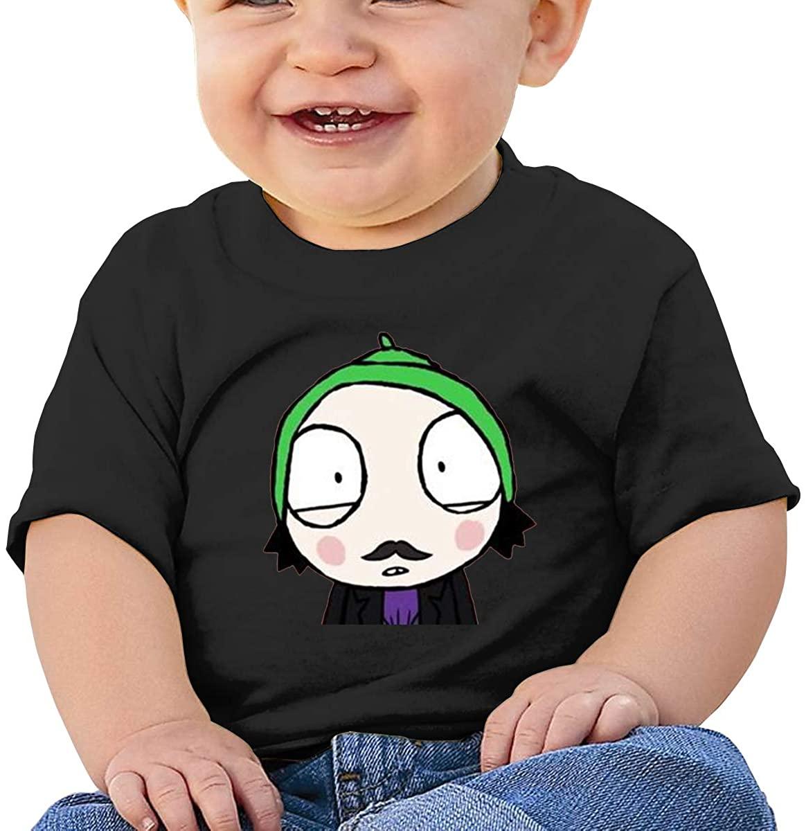 6-24 Months Boy and Girl Baby Short Sleeve T-Shirt Sarah & Duck Logo Original Minimalist Style Black