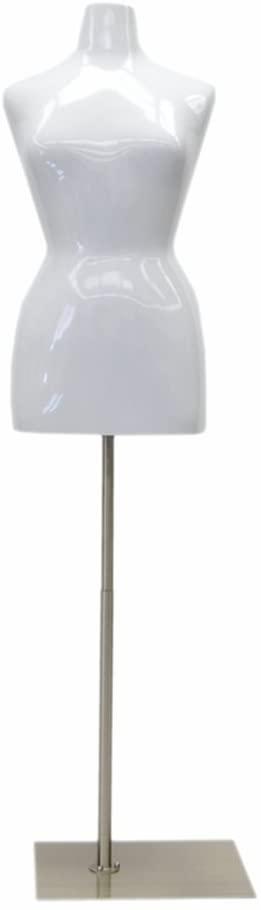 (MD-FF14/16W1) Female Mannequin Torso, Size 14-16. Fiberglass Material. Glossy White Color + Base