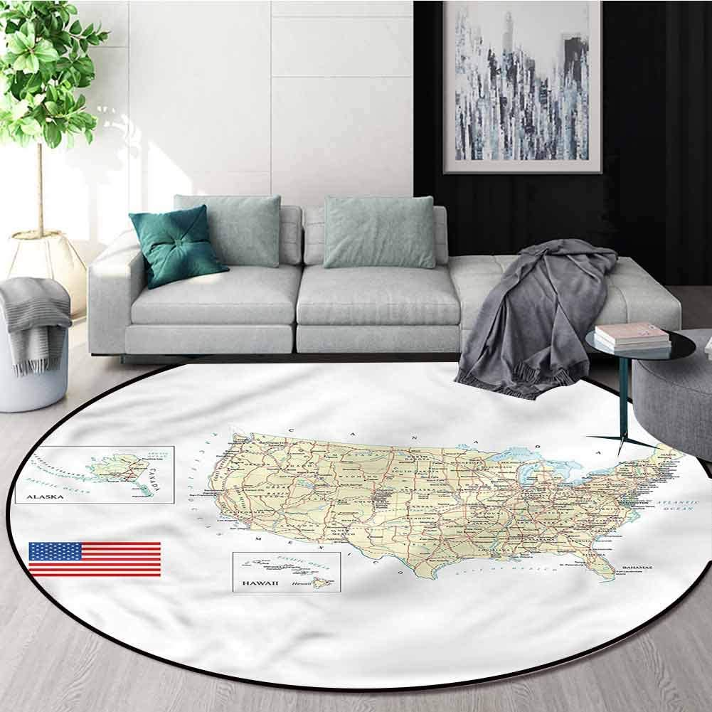 RUGSMAT Wanderlust Super Soft Circle Rugs for Girls,USA Detailed Country Map Pattern Floor Seat Pad Home Decorative Indoor Round-63