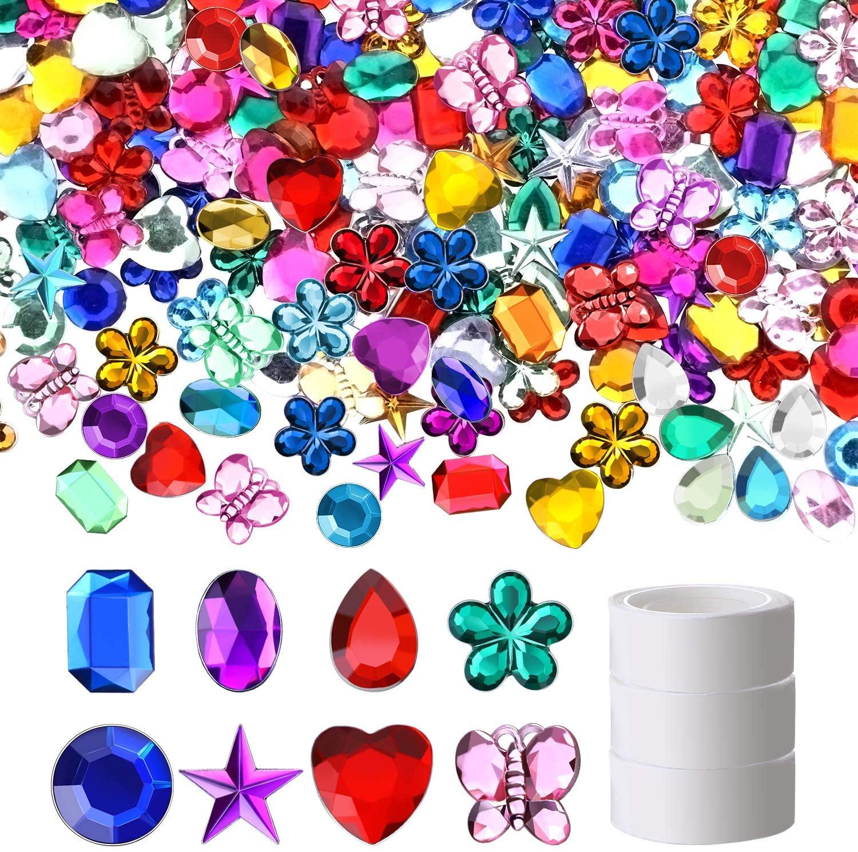 1000 Pieces Bling Craft Jewels Flatback Rhinestone Gems Acrylic Gemstone Embellishments with Dot Glue for DIY Crafts Decoration Favor