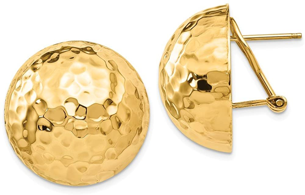 Beautiful Yellow gold 14K 14k Hammered Omega Back Post Earrings