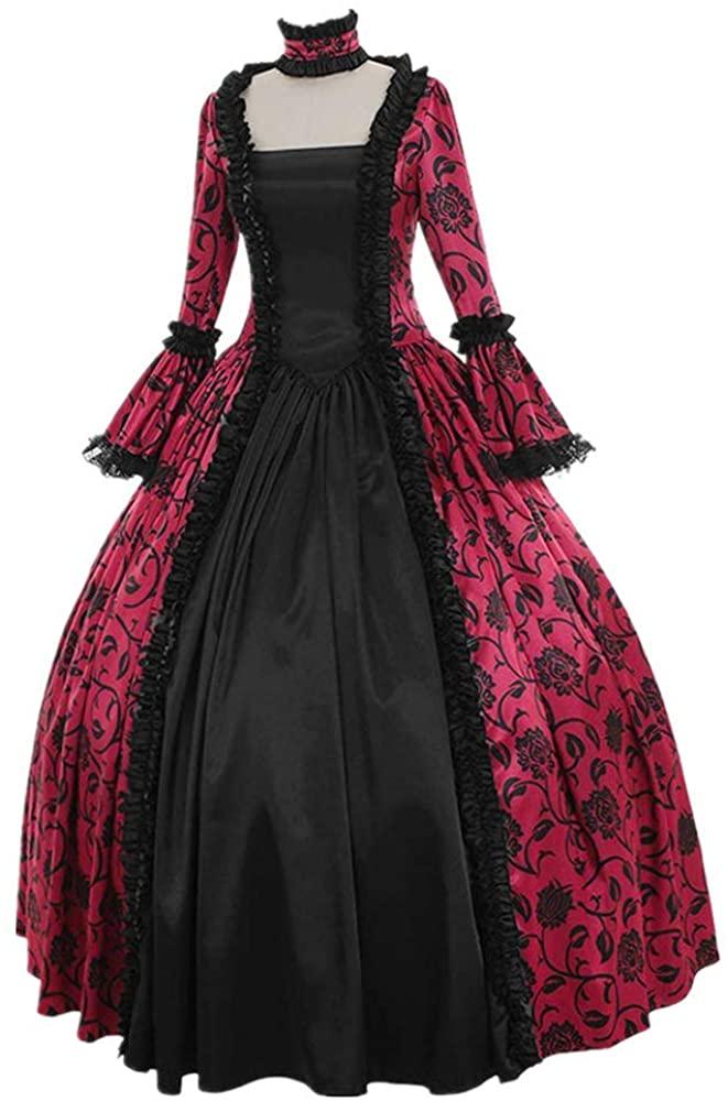 F_Gotal Womens Dresses Womens Medieval Renaissance Vintage Retro Gothic Cosplay Dresses
