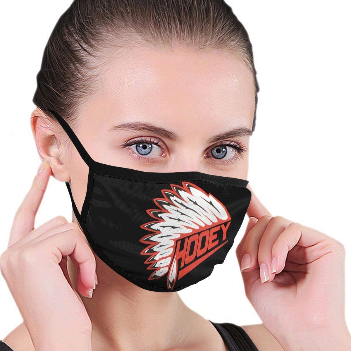 Decorative Mouth Masque Cover Face,Facial Scarf,Face Guard Cover,Hooey Cowboy Red with Headdress Logo Outdoor Windproof Sports Ski Shield Scarf Bandana Men Woman