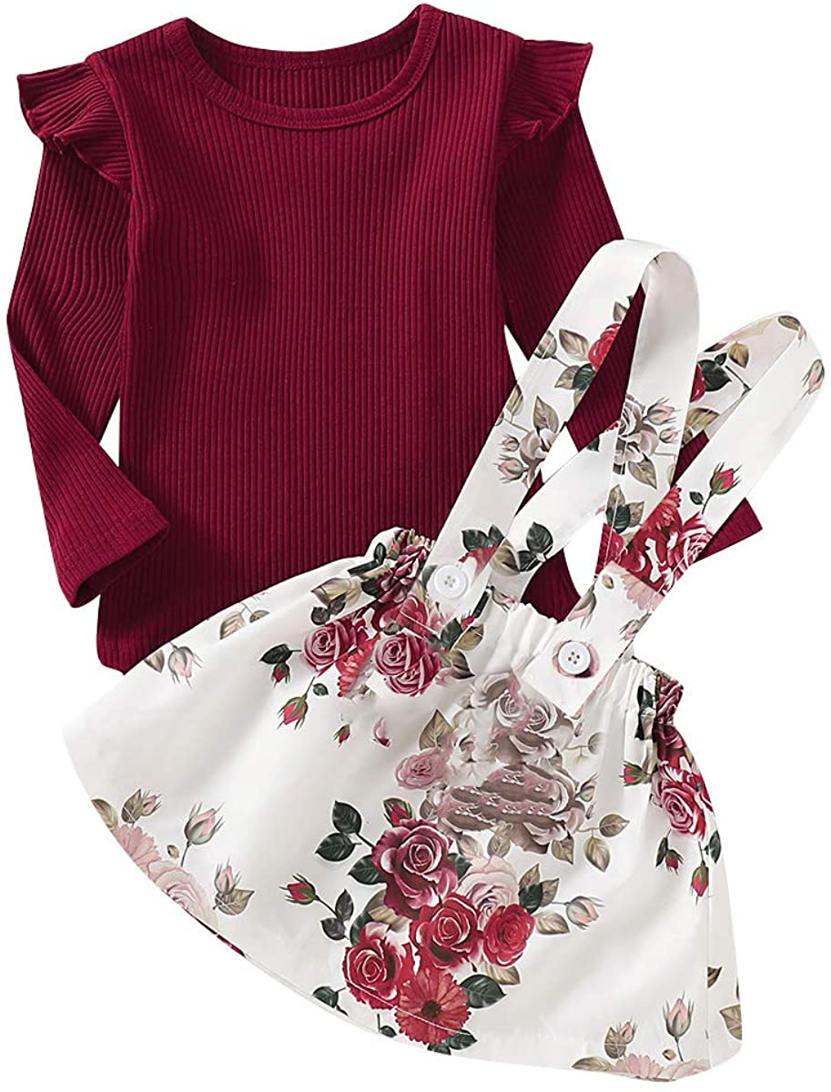 USgreat 6M-6T Toddler Girls Outfit Skirt, Baby Infant Long Sleeve Ruffle Top Fall Clothes Strap for Kids